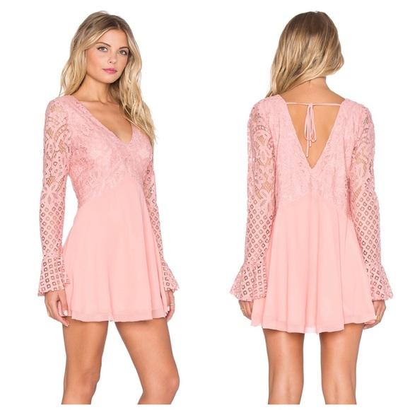 f46789c3ca8 Tularosa Skylar Lace Babydoll Dress in Blush NWT